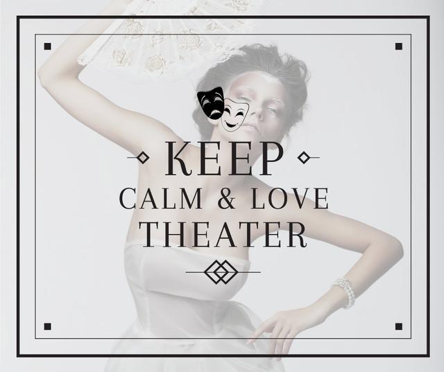 Modèle de visuel Theater Quote Woman Performing in White - Facebook