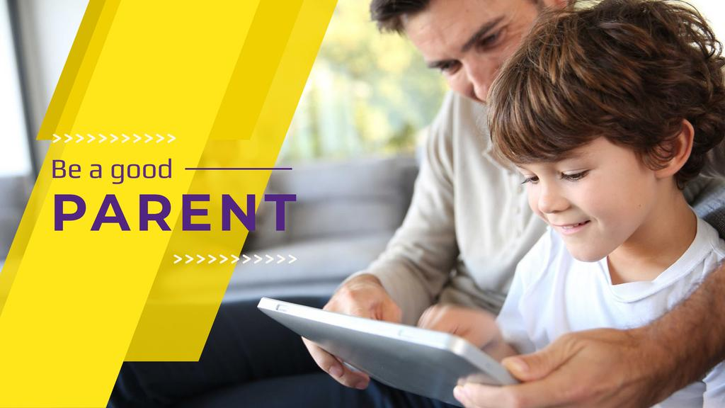 Parenting Tips with Father and Son Using Tablet — Crea un design