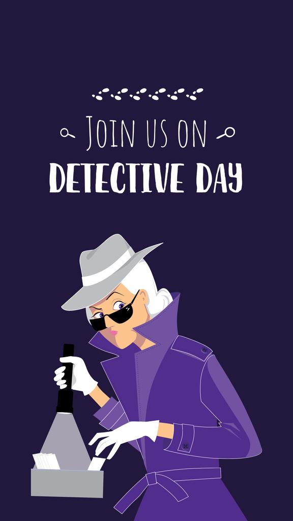 Plantilla de diseño de Detective Day Celebration Announcement with Woman holding Flashlight Instagram Story