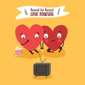 Hearts watching TV on Valentine's Day