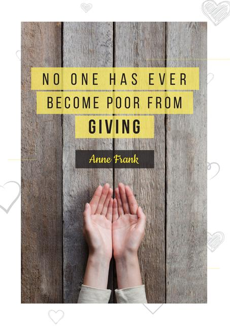 Citation about no one is poor Poster Design Template