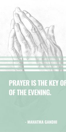 Plantilla de diseño de Religion Quote with Hands in Prayer Graphic