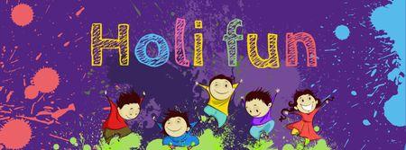 Plantilla de diseño de Indian Holi festival celebration with Funny Kids Facebook cover