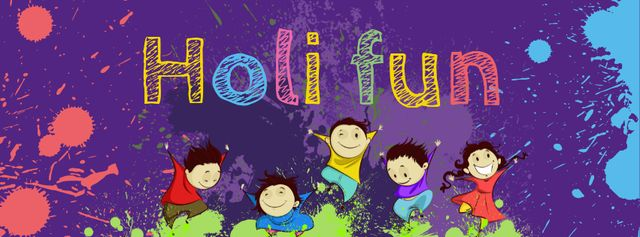 Ontwerpsjabloon van Facebook cover van Indian Holi festival celebration with Funny Kids