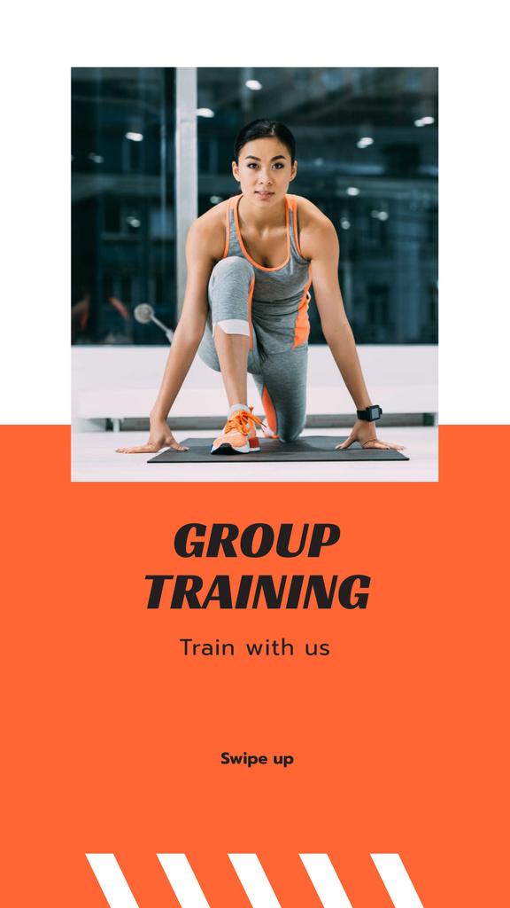 Plantilla de diseño de Group Training Ad with Woman in Gym Instagram Story