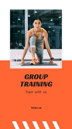 Szablon projektu Group Training Ad with Woman in Gym Instagram Story