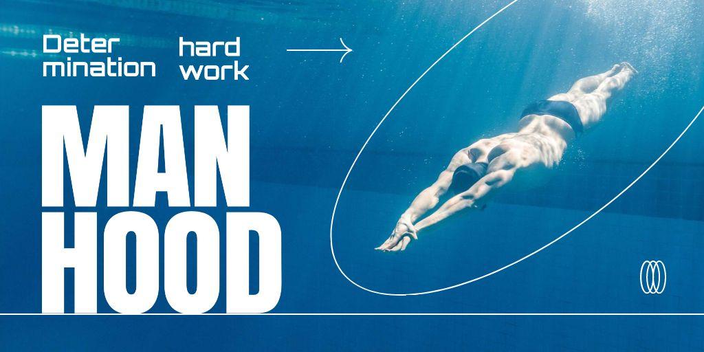 Manhood Inspiration with Athlete Man swimming in Pool Twitter – шаблон для дизайна
