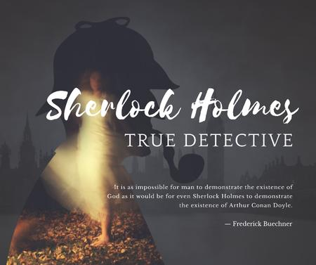 Template di design Sherlock Holmes quote on London view Facebook