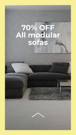 Sofas Sale Offer with Stylish Room Interior Instagram Story Modelo de Design