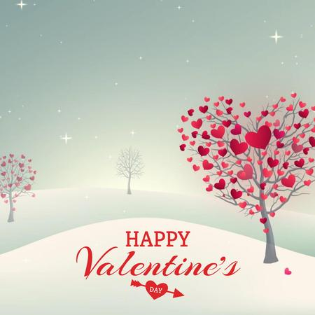 Modèle de visuel Valentine's Day Trees with Hearts - Animated Post
