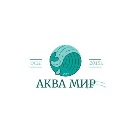 Whale Animal Icon in Blue Logo – шаблон для дизайна