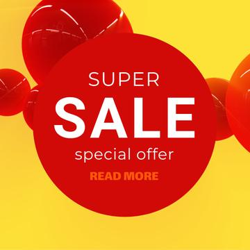 Super Sale Announcement with Flying red bubbles