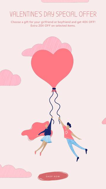 Ontwerpsjabloon van Instagram Video Story van Valentine's Day Offer with Pink Clouds