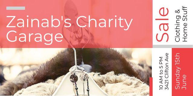 Charity Sale Announcement Clothes on Hangers Image tervezősablon