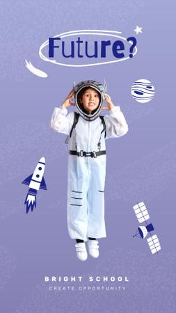 Modèle de visuel School Ad with Boy in Astronaut Suit - Instagram Story