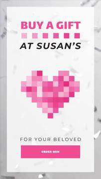Valentine's Day Pixel Heart and Confetti