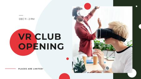 Ontwerpsjabloon van FB event cover van VR Club Opening with People using glasses