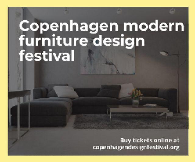 Designvorlage Interior Decoration Event Announcement Sofa in Grey für Large Rectangle