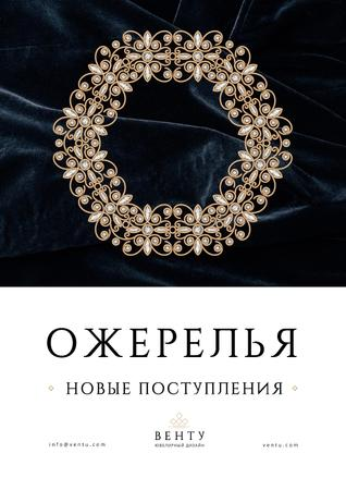 Jewelry Collection Ad with Elegant Necklace Poster – шаблон для дизайна