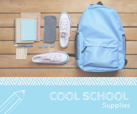 School supplies poster Medium Rectangleデザインテンプレート