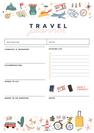 Ontwerpsjabloon van Schedule Planner van Travel Planner with Travelling icons