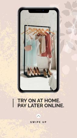 Online Fashion App Offer with Wardrobe on Phone Screen Instagram Story Tasarım Şablonu