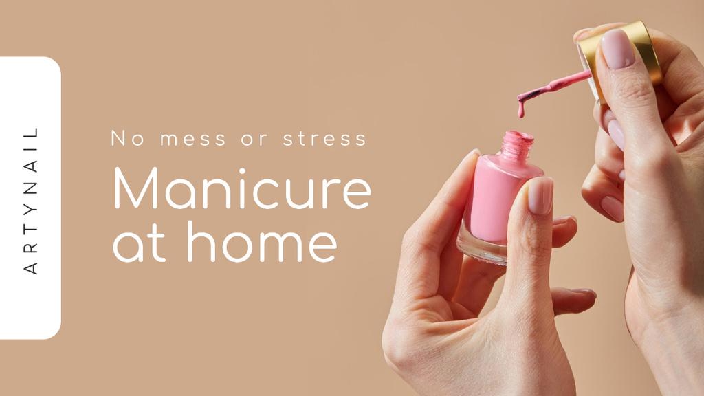 Manicure at Home Ad with Woman holding Nail Polish — Crea un design