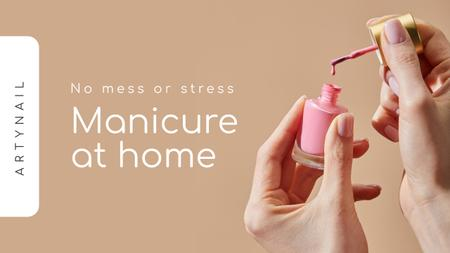 Manicure at Home Ad with Woman holding Nail Polish Youtube Thumbnail Design Template
