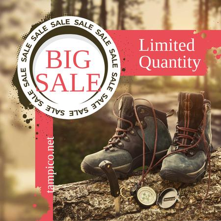 Hiking Gear Offer Boots in Wood Instagramデザインテンプレート
