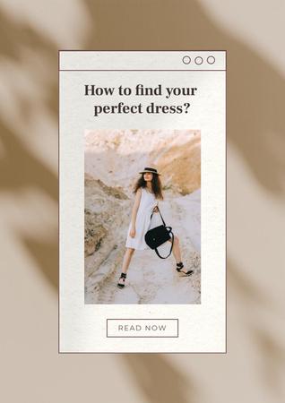 Modèle de visuel Wedding Dresses Ad with Beautiful Bride - Poster
