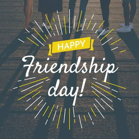 Friendship Day Greeting Young People Together Instagram Design Template
