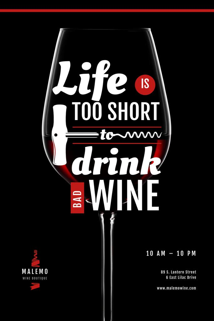 Wine Store Ad with glass with Corkscrew Pinterest – шаблон для дизайна