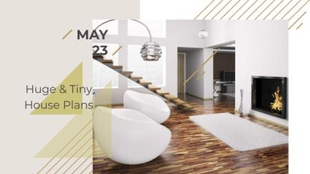 Construction Event with Modern Minimalistic Room FB event cover Modelo de Design