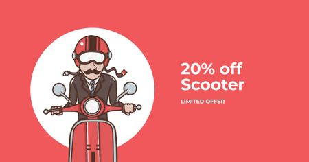 Modèle de visuel Scooter Sale with Man on Motorbike in Red - Facebook AD