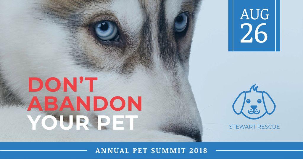 Citation about Pet with Сute Husky Dog — Modelo de projeto