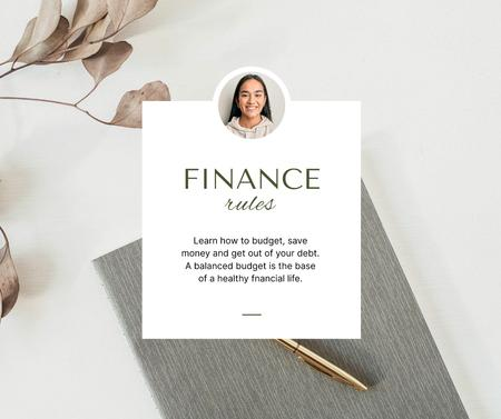 Smiling Woman for Finance Rules Facebook Modelo de Design