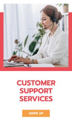 Support Services Ad with Female Consultant Instagram Story Tasarım Şablonu