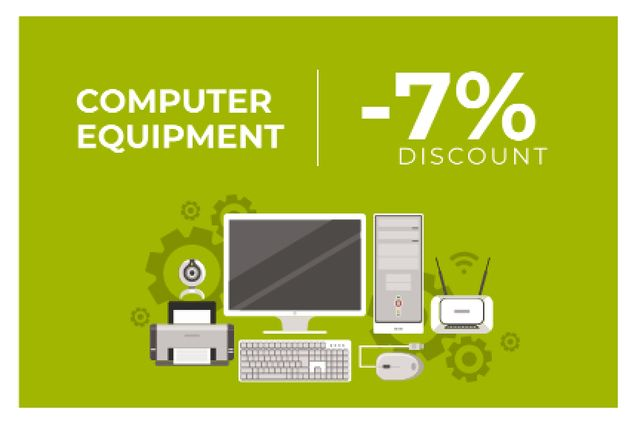 Discount for computer equipment Gift Certificate – шаблон для дизайна