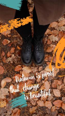 Plantilla de diseño de Autumn Inspiration with Girl standing on Foliage Instagram Video Story