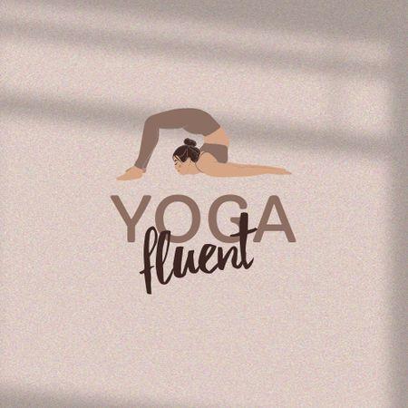 Woman practicing Yoga Logo Modelo de Design