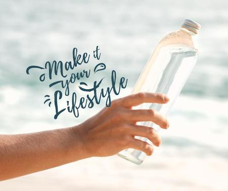 Modèle de visuel Eco Concept with Woman holding Glass Bottle - Facebook