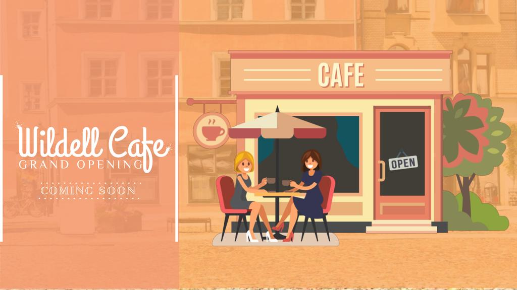 Cafe Invitation with Women Drinking Coffee — Crear un diseño