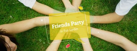 Friends Party Announcement with People holding hands Facebook cover Design Template