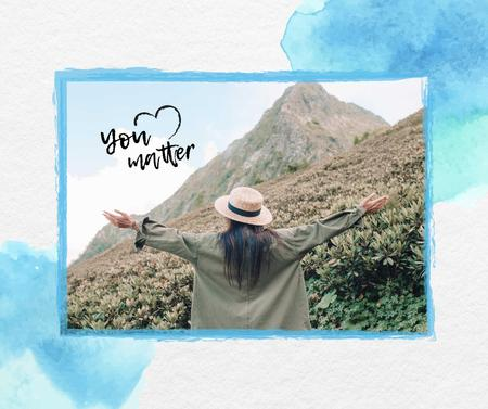 Template di design Mental Health Inspiration with Woman in Mountains Facebook