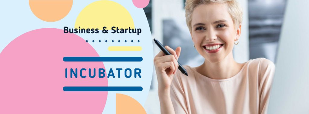 Business Tips Confident smiling Woman — Modelo de projeto
