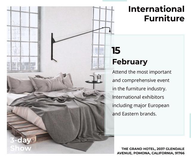 Furniture Show Bedroom in Grey Color Facebook – шаблон для дизайна