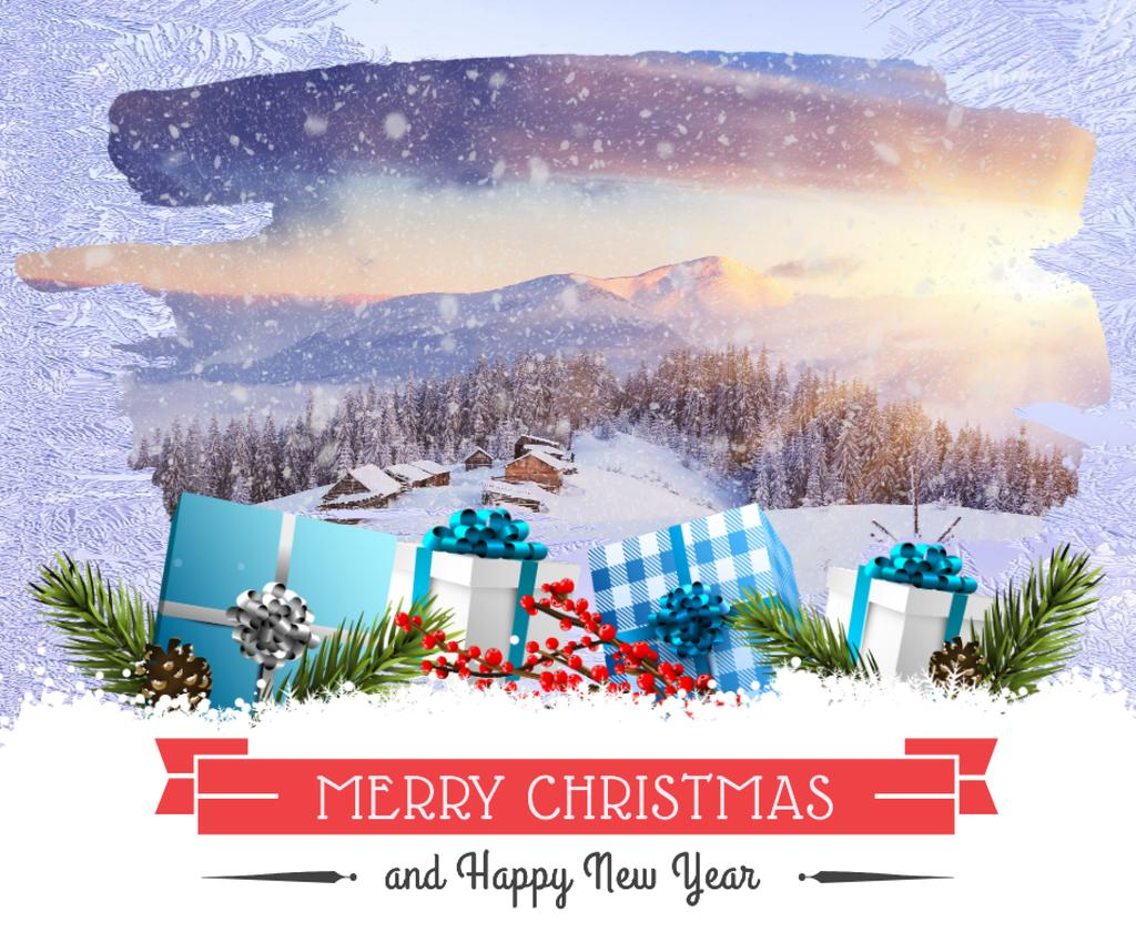 Merry Christmas greeting with gifts and winter forest — Crear un diseño