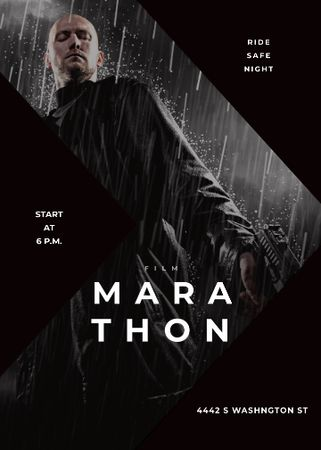 Plantilla de diseño de Film Marathon Ad Man with Gun under Rain Invitation