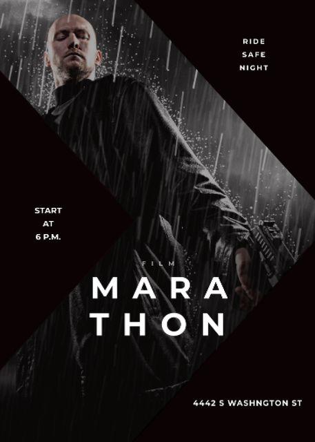 Film Marathon Ad Man with Gun under Rain Invitation – шаблон для дизайну