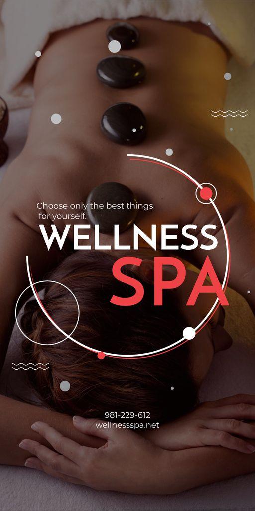 Ontwerpsjabloon van Graphic van Wellness Spa Ad Woman Relaxing at Stones Massage